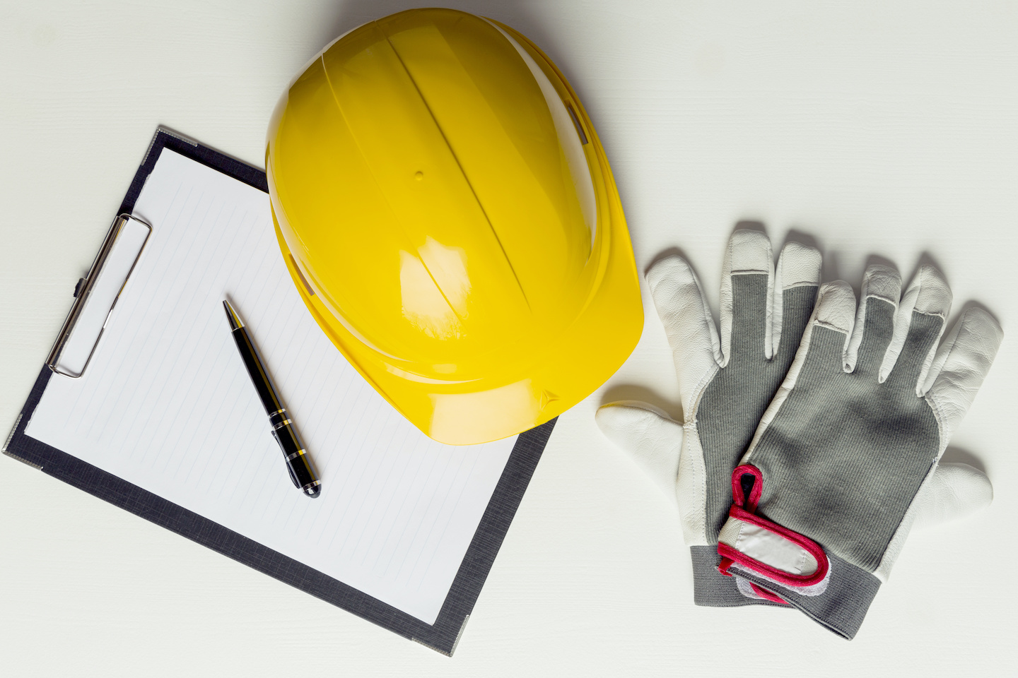 Roofing Hard Hat and Gloves